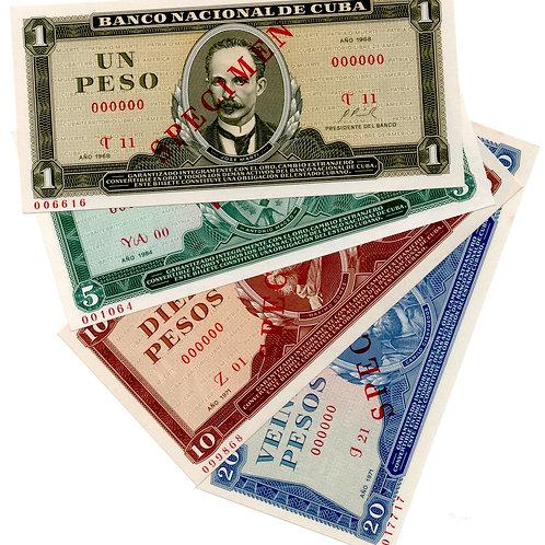 CUBA LOT 4 OF BILLS SPECIMEN MUESTRA UNCIRCULATED.
