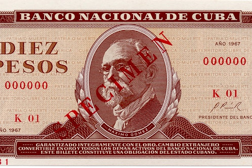 1967 SPECIMENCUBA 10PESOS UNCIRCULATED BANCO NACIONAL.