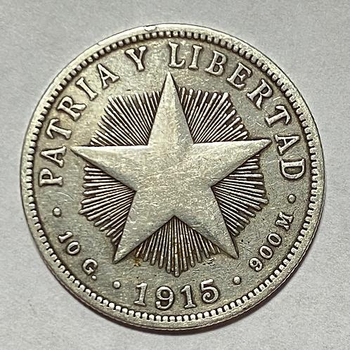 CUBA 40 CENTAVOS PLATA HIGH RELIEF 1915