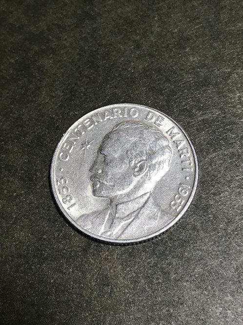 Cuba 25 centavos 1953 centenario de marti.