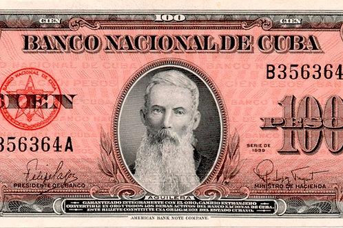 1959  CUBA 100 PESOS UNCIRCULATED SUPER GRADO