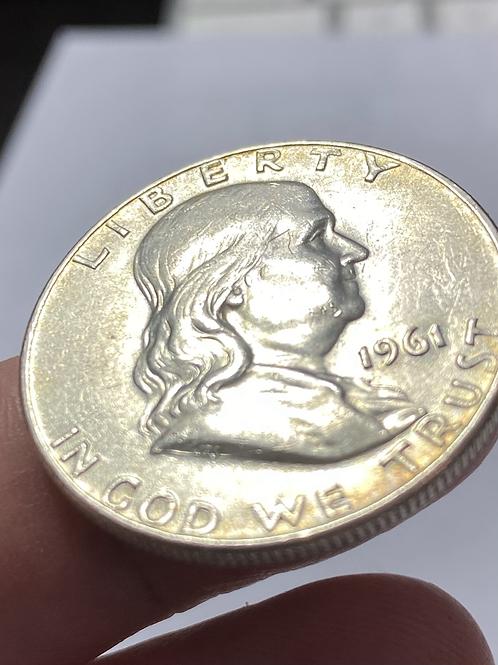 USA 1961 Franklin  silver coin 50 centavos Dollar.