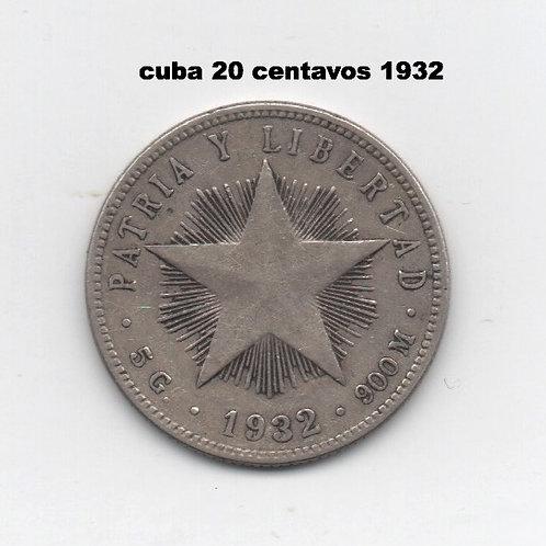 CUBA 20 CENTAVO 1932 VERY SCARCE PRE CASTRO.