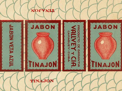 1950S CAMAGUEY CUBA JABON TINAJON SOAP LABEL