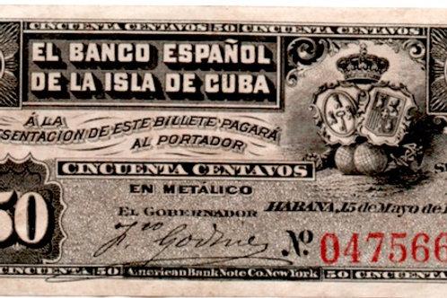 EL BANCO ESPAÑOL DE LA ISLA DE CUBA 50 CENTAVOS 1896 COLONIAL