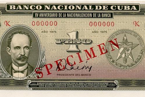 1975 CUBA 1 PESO SPECIMEN  XV ANIVERSARIO DE LA NACIONALIZACION DE LA B