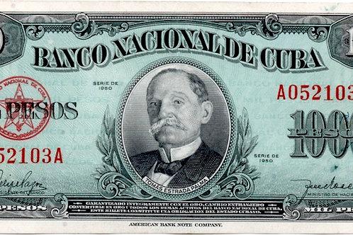 1950 CUBA 1000 PESOS TOMAS ESTRADA PALMA ESCASO DIFICIL