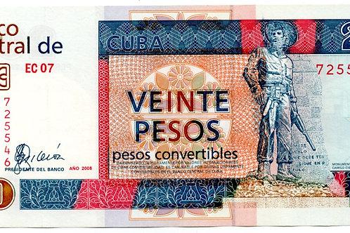 CUBA 20 PESOS 2008 CONVERTIBLES CUC BANCO CENTRAL.