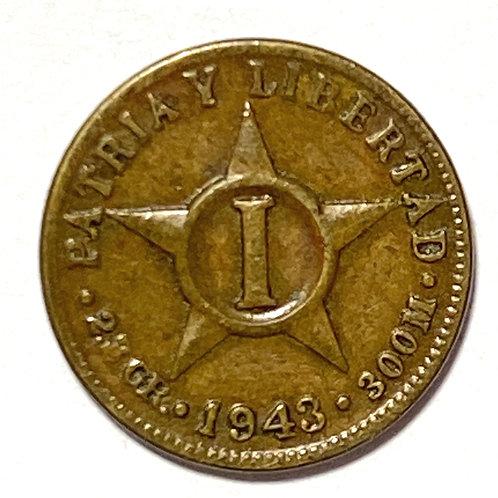 CUBA 1 CENTAVO 1943 COBRE SÚPER CONDICIÓN.#a01