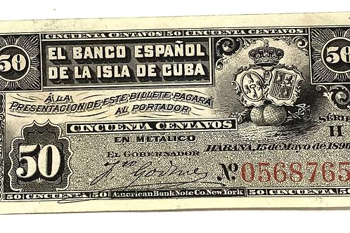 CUBA 50 centavos 1896 SIN CUÑO PLATA