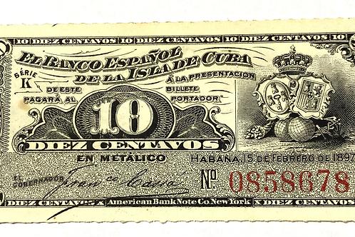 10 CENTAVOS CUBA 1897 UNC LINDA NOTA ESCASA.