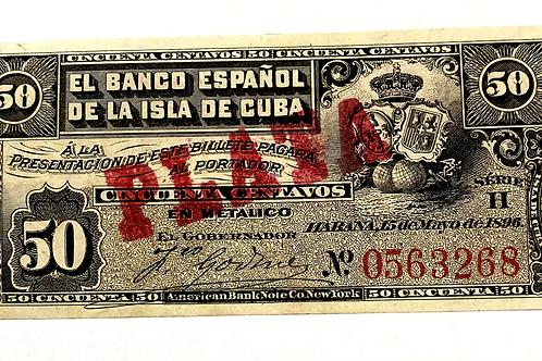 CUBA 50 CENTAVOS COLONIAL 1896 con cuño de plata