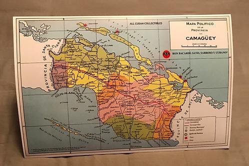 RON BACARDI Mapa de la Provincia De Camagüey Cuba.