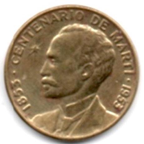CUBA LOT OF 2 COINS 1953/1958 JOSE MARTI 1 CENTAVO PRE CASTRO