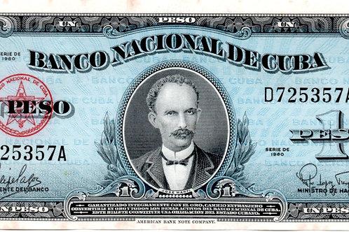CUBA 1960 JOSE MARTI 1 PESO #D725357A UNCIRCULATE.