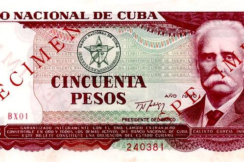 CUBA 50 PESOS SPECIMEN Y REMPLAZO MUY RARO 1990