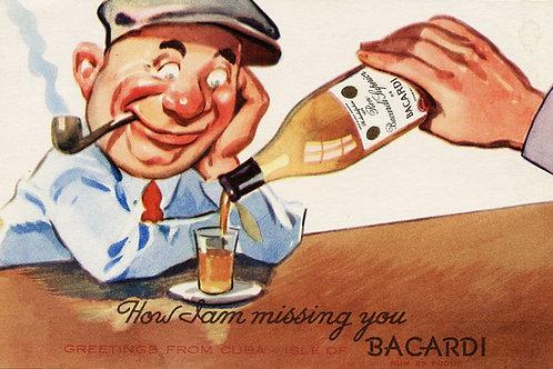 1940S CUBA BACARDI RUM ADVERTISING POSTCARD