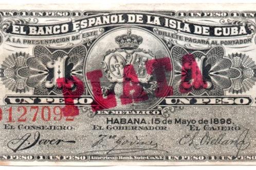 cuba 1 peso 1896 el banco español de la isla de cuba cuño plata See conditi