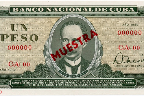 1982 CUBA 1 PESO MUESTRA UNCIRCULATED
