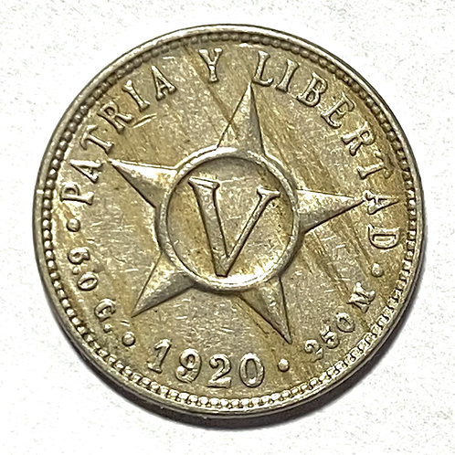 CUBA 5 centavos 1920 súper condition