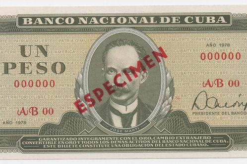 1978CUBA 1 PESO SPECIMEN UNCIRCULATED
