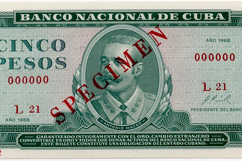 1968CUBA 5 PESOS SPECIMEN UNCIRCULATED