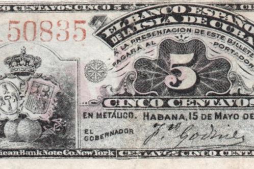 EL BANCO ESPAÑOL DE LA ISLA DE CUBA 1896 5 CENTAVOS BILLETE COLON