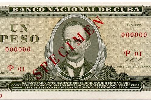 1970 CUBA 1 PESO SPECIMEN UNCIRCULATED
