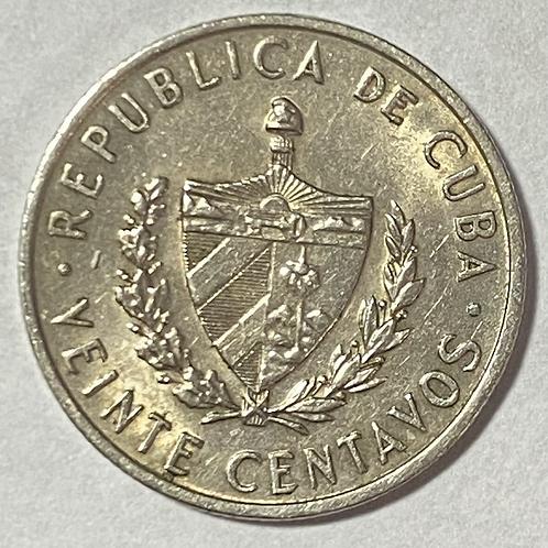 CUBA 1962 súper condición 20 centavos J. MARTI.