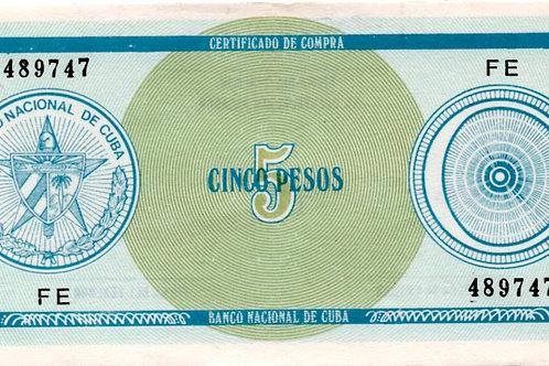 CUBA 5 PESOS SERIAL EF CERTIFICADO DE COMPRA SCACE DIFICIL