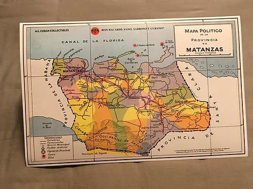 RON BACARDI Mapa Provincia de Matanzas, Cuba.