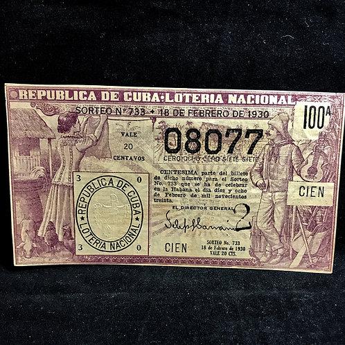 1930 Lotería nacional republica de cuba