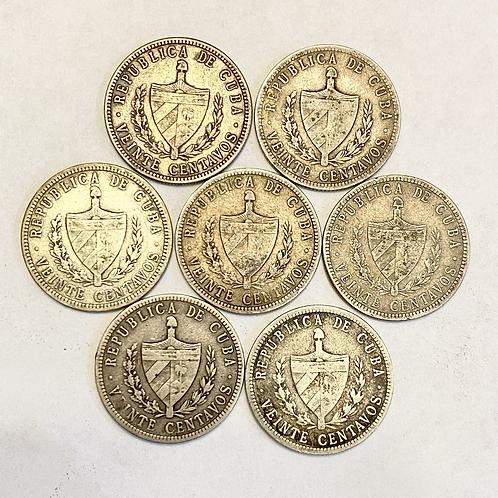 CUBA LOT 7 COIN 20 CENTAVOS 1915.