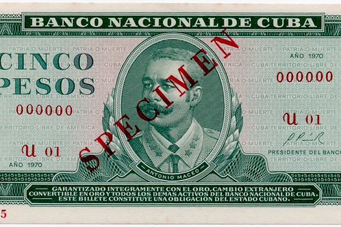 1970CUBA 5 PESOS SPECIMEN UNCIRCULATED