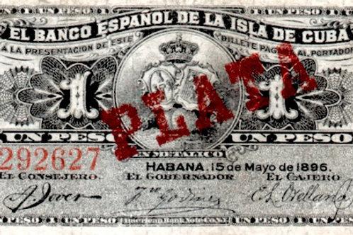 1 peso 1896 cuño de plata serie G BANCO ESPAÑOL DE LA ISLA DE CUBA COLONIAL