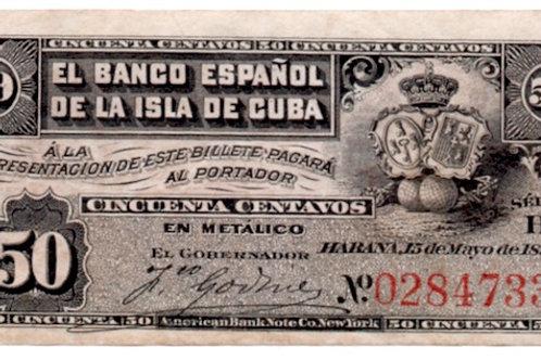CUBA 1896 EL BANCO ESPAÑOL DE LA ISLA DE CUBA 50 CENTAVOS UNCIRCULATED