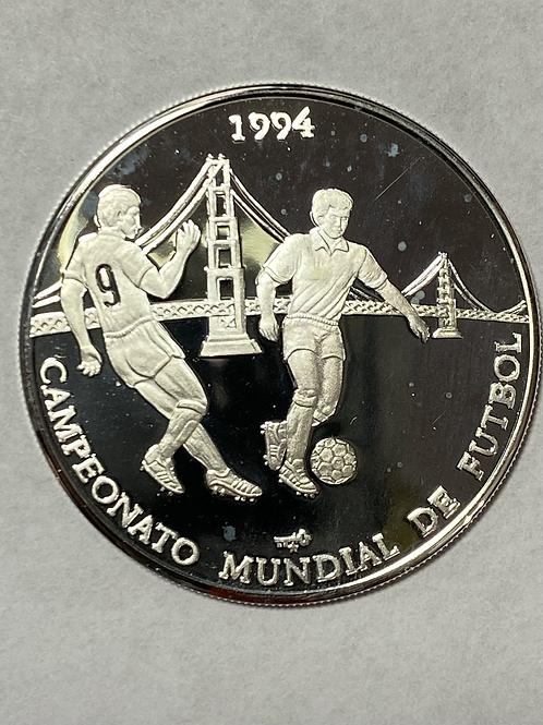 CUBA  CAMPIONATO MUNDIAL DE FUTBOL 10 PESOS SILVER PROOF 1994