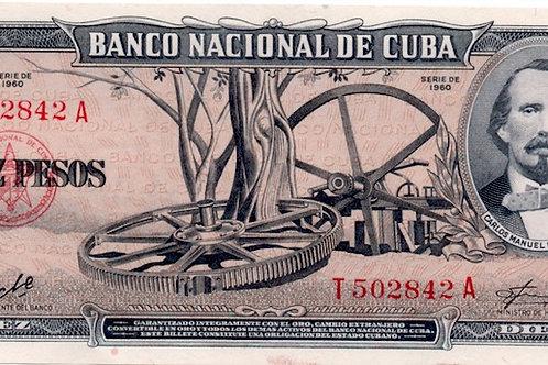 10 PESOS CUBA 1960 FIRMA CHE  ESCASO