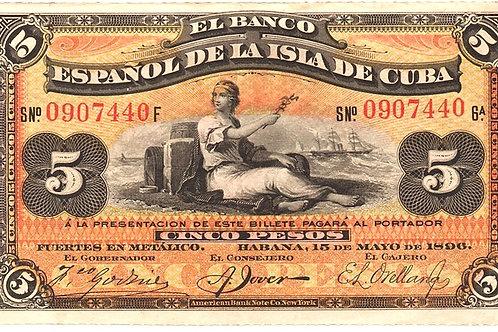 CUBA 1896 EL BANCO ESPAÑOL DE LA ISLA DE CUBA 5 PESOS CUÑO DE PLATA COL