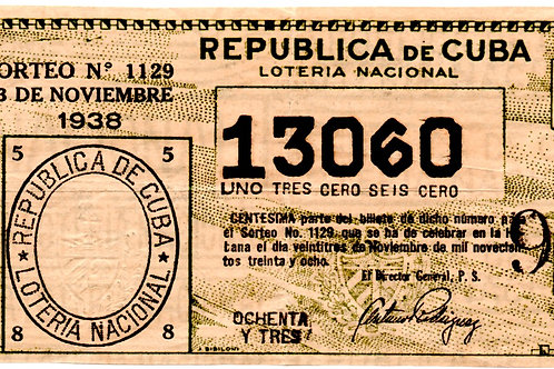 REPUBLICA DE CUBA BILLETE DE LOTERIA NACIONAL 1938
