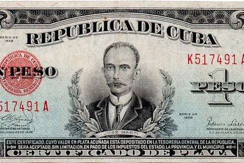 1938 CUBA 1 PESO CERTIFICADO DE PLATA VERY SCARCE FIRMA FEDERICO LAREDO