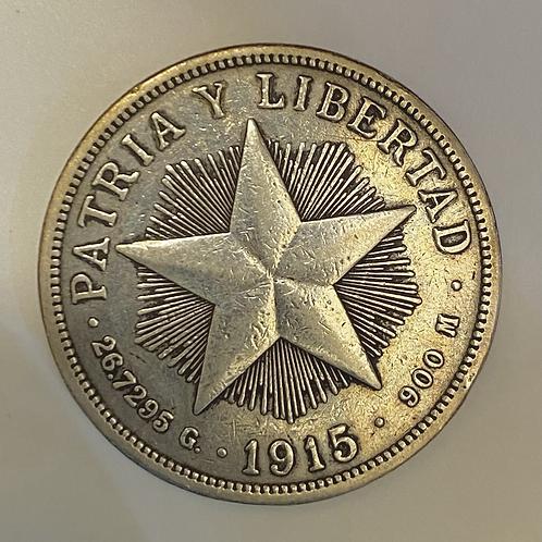 1 PESO 1915 CUBA SILVER