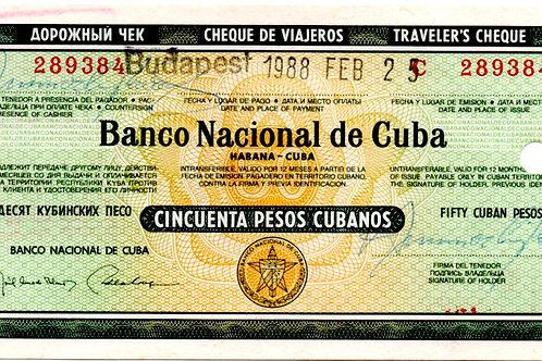 CUBA 1988 CHEQUE DE VIAJERO 50 PESOS CUBANOS