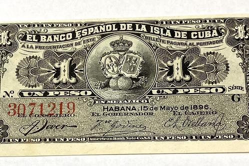 CUBA 1896 BANCO ESPAÑOL DE LA ISLA DE CUBA 1 PESO COLONIAL.