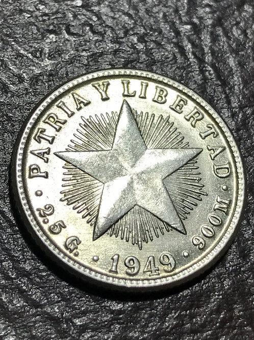 Cuba 10 centavos 1949 Silver patria y libertad.