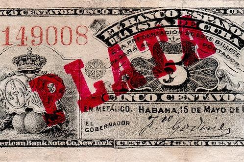 EL BANCO ESPAÑOL DE LA ISLA DE CUBA 1896 CUÑO DE PLATA 5 CENTAVOS