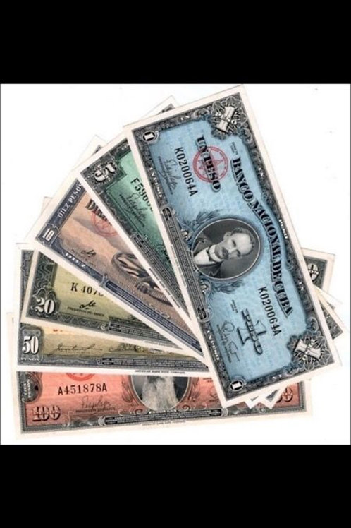 Cuba lote de 6 billetes 1950/60 uncirculated colec