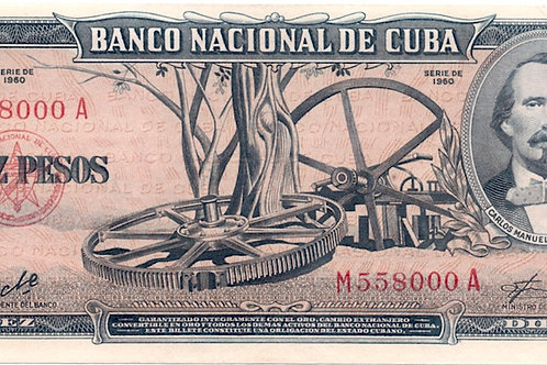 1960 CUBA 10PESOS # SERIES RARO C. MANUEL DE CESPEDES FIRMA CHE..
