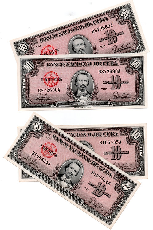 CUBA 10 PESOS 1960 LOTE DE 4 BILLETES # CONSECUTIVOS SIN CIRCULAR.