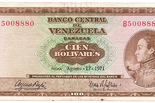1971 VENEZUELA 100 BOLIVARES BANCO CENTRAL